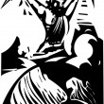 Woodcut Zeus and Earth — Stock Vector #79180526