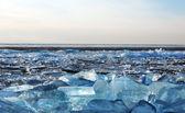 Frozen iced cracked water — Fotografia Stock