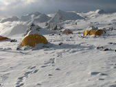 Tents under snow in the camp, Andes — Stock Photo