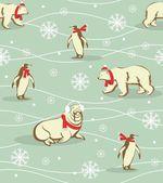 Winter animals pattern — Stockvektor