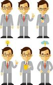Businessman character set in different poses — Stock Vector