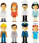 People occupation characters set in flat style — Stock Vector