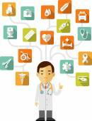 Doctor and set of medical icons — Stock Vector