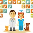 Veterinary doctor and icons set — Stock Vector #59722307