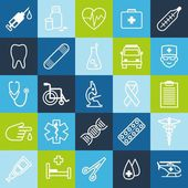 Set of medical icons in thin line style — Stock Vector