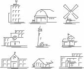 Buildings icons set — Stock Vector