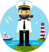 Ship captain in uniform — Vector de stock