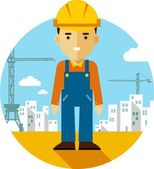 Builder on construction background in flat style — Stock Vector