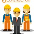 Set of builder man and woman in flat style — Stock Vector #67426373
