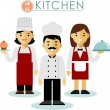 Set of chef cook and waitress in flat style — Vector de stock  #67426379
