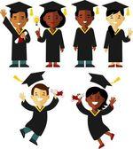不同民族毕业生在平面样式中设置的字符 — 图库矢量图片