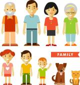 Set of seven family members in flat style — Stock Vector