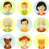 Set of seven family members avatars icons in flat style — Stock Vector