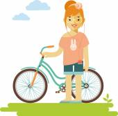 Young bicycle rider hipster woman with bike in flat style — Stock Vector