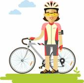 Young racing cyclist woman with bike in flat style — Stock Vector