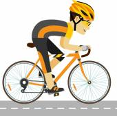 Young racing cyclist man with bike in flat style — Stock Vector