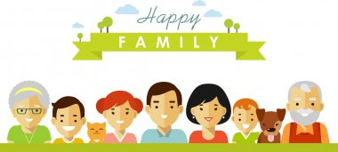 Set of seven happy family members portrets in flat style