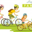 Happy family riding bikes isolated on white background in flat style — Stock Vector #73061189