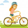 Happy little girl riding bikes isolated on white background in flat style — Stock Vector #73063517