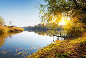 Autumn and calm river — Stock Photo