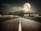 Highway to district under the moon — Stock Photo