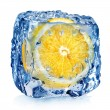 Lemon in ice cube — Stock Photo #57990155