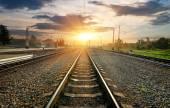 Railroad and station — ストック写真