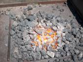 Furnace with hot flaming coal — Stock Photo