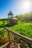 Wooden house in   countryside — Stock Photo