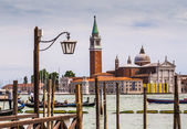 Gondolas moored by Saint Mark square — Stock Photo