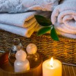 Spa with towels and candle — Stock Photo #58058905
