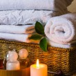 Spa with towels and candle — Stock Photo #58059069
