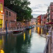 Narrow canal among old colorful brick houses — Stock Photo #60362285