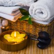 Spa with towels and candle — Stock Photo #61877065