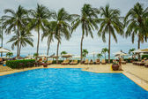 Tropical Resort Pool with Lounge Chairs — Stock Photo