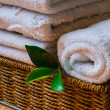 Spa with towels and candle — Stock Photo #63891693