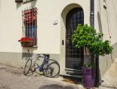 Велосипед с цветками в Тоскану — Стоковое фото
