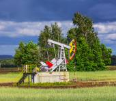 Oil Pump near forest — Stock Photo