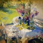Painted garden flower arrangement — Stock Photo #67243747