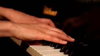Two hands playing grand piano. — Stock Video