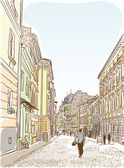 Antique European street. Summer city landscape. — Stock Vector
