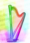 Harp. Iridescen colours.  — Stock Vector