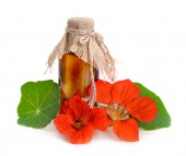 Nasturtium flowers with a pharmaceutical bottle. — Stock Photo