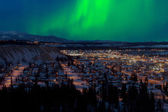 Northern Lights over Downtown Whitehorse — Stock Photo