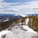 Lake Laberge taiga hill frozen spring Yukon Canada — Stock Photo #77603220