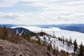 Lake Laberge spring frozen surface Yukon Canada — Stock Photo