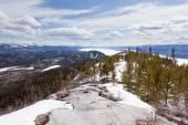 Lake Laberge taiga hill frozen spring Yukon Canada — Stock Photo