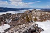 Frozen surface Lake Laberge spring Yukon Canada — Stock Photo