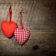 Checkered and polka dots two textile hearts — Stockfoto #53246171