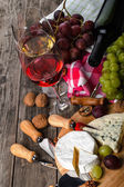 Served cheese and wine — Stock Photo
